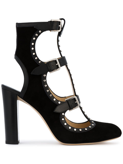 Hensley Studded Suede & Leather Pumps in Black