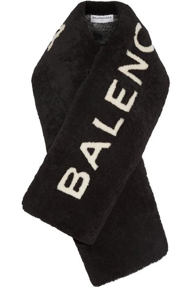 Black Shearling Logo Scarf