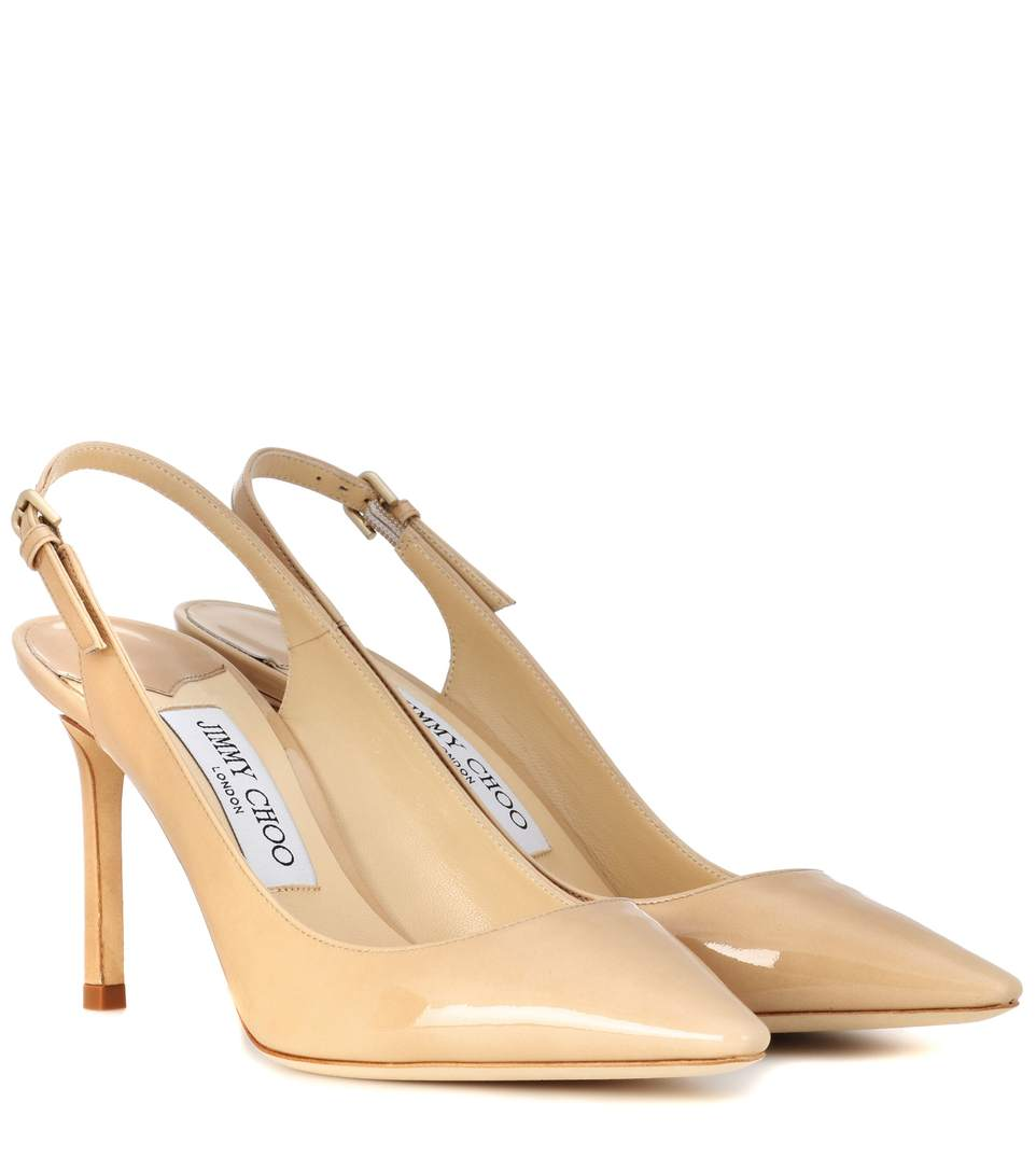 Erin 85 Leather Slingback Pumps, Beige