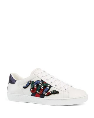 New Ace Crystal-Embroidered Snake Leather Low-Top Sneakers in White