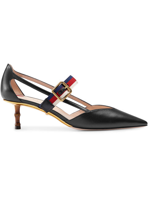 Unia Grosgrain-Trimmed Leather Pumps in Black