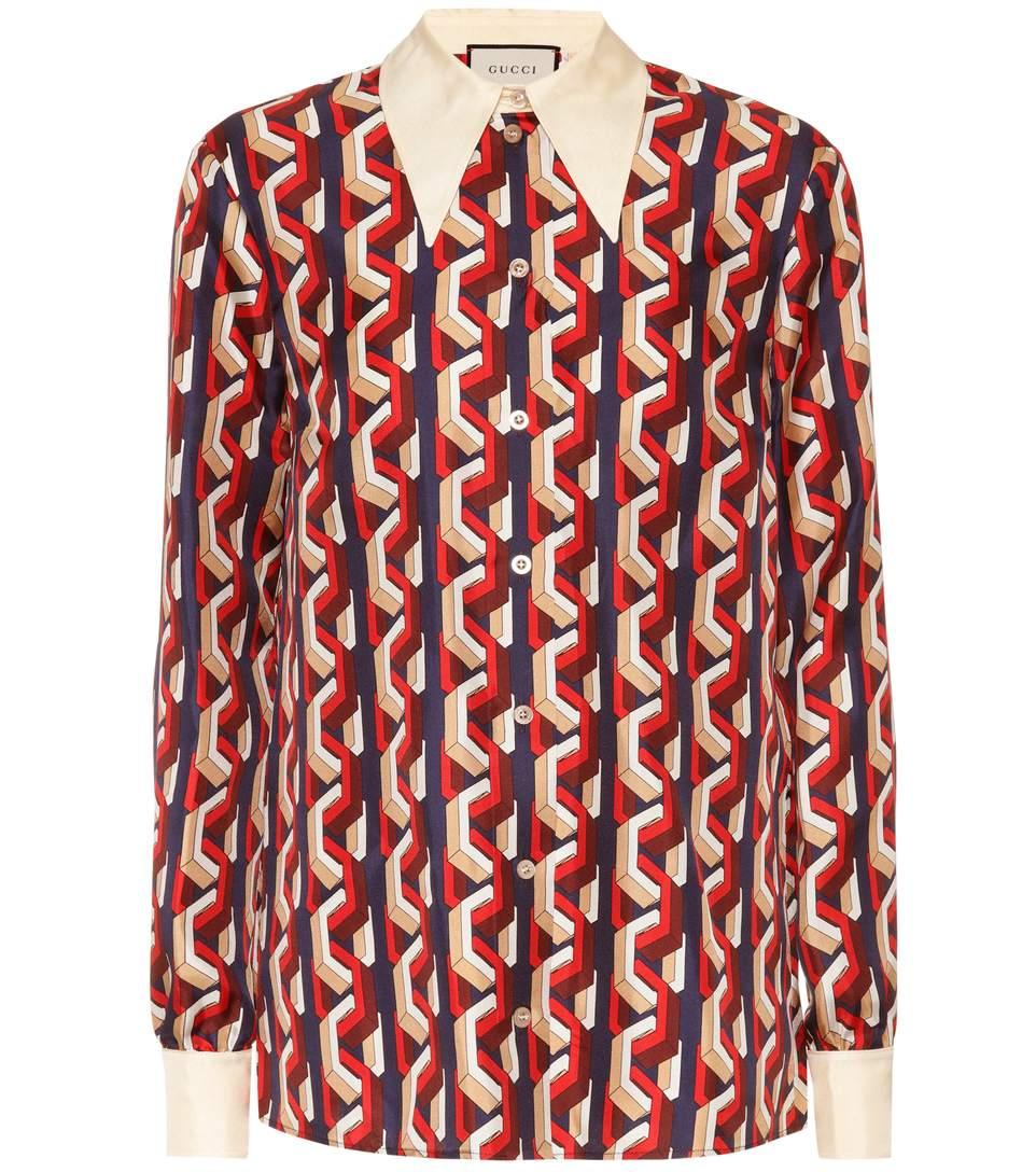 Mini Web Chain Print Silk Shirt, Multicoloured