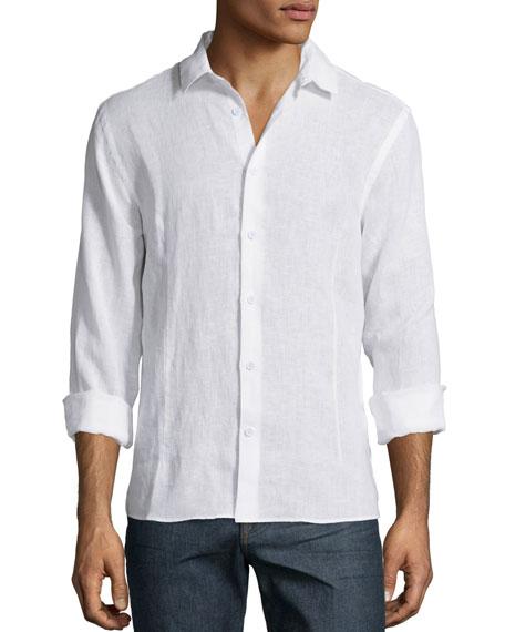 ORLEBAR BROWN Morton Point-Collar Cotton-Piqué Shirt in White