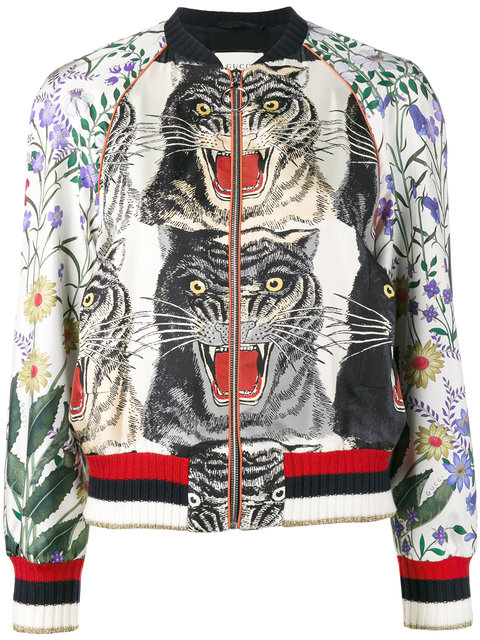 Appliquéd Printed Silk-Twill Bomber Jacket in Neutrals