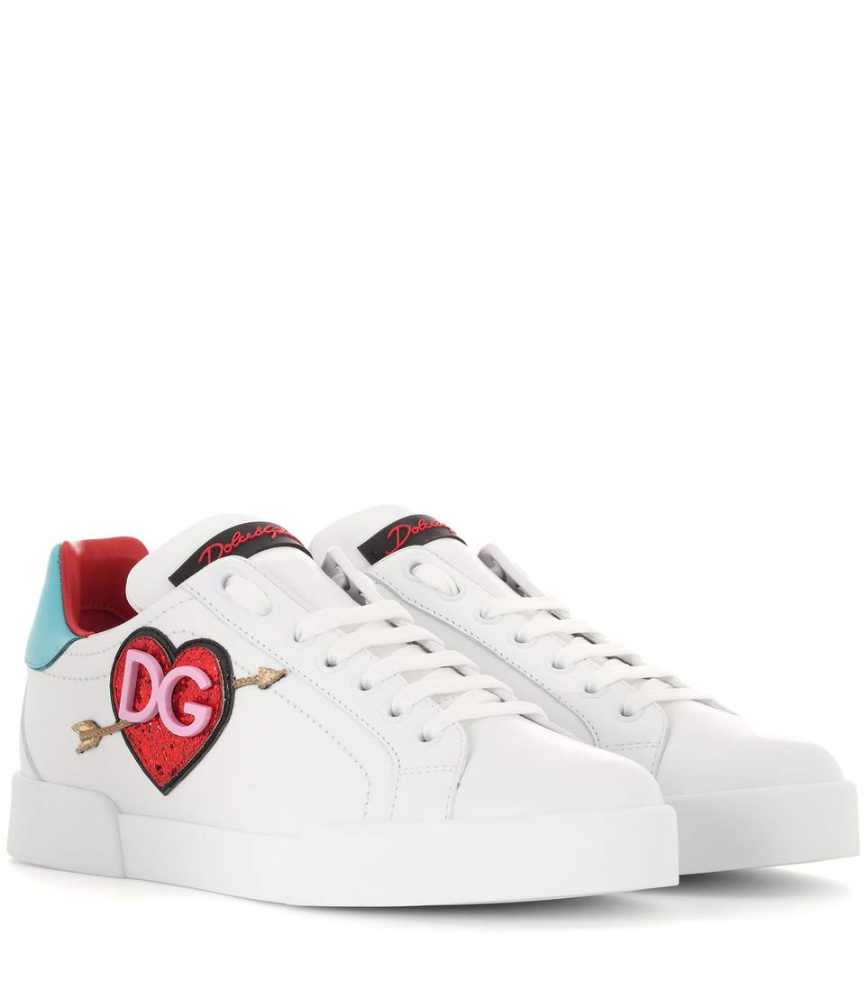 Leather Portofino Sneakers With Patch in White