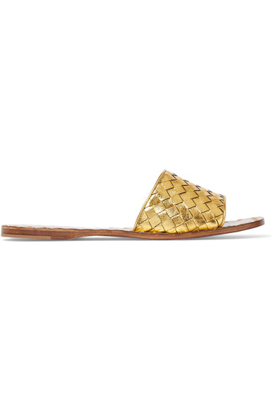 Metallic Intrecciato Leather Slides, Gold
