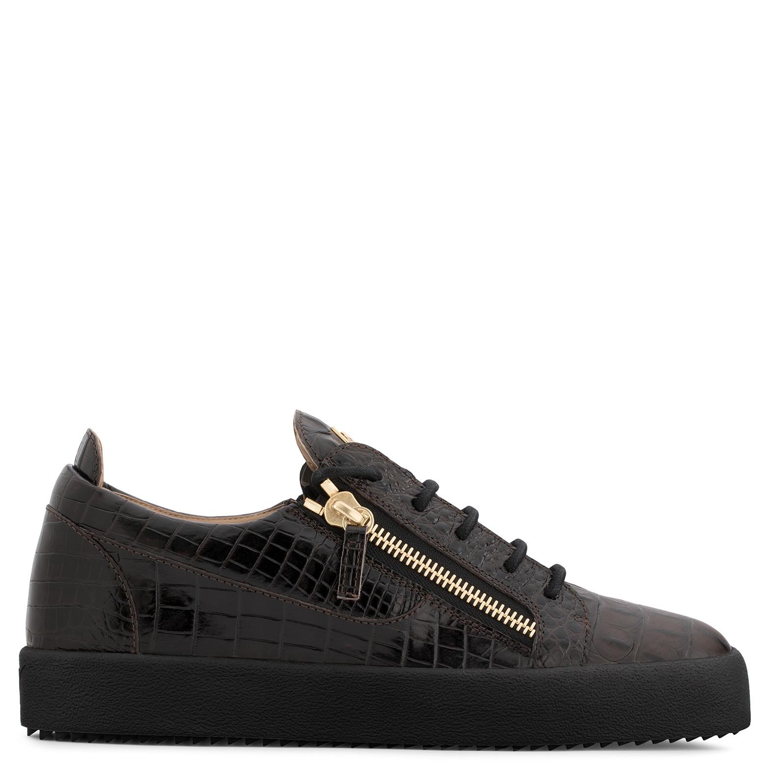 GIUSEPPE ZANOTTI - Brown Crocodile-Embossed Leather Sneaker Frankie