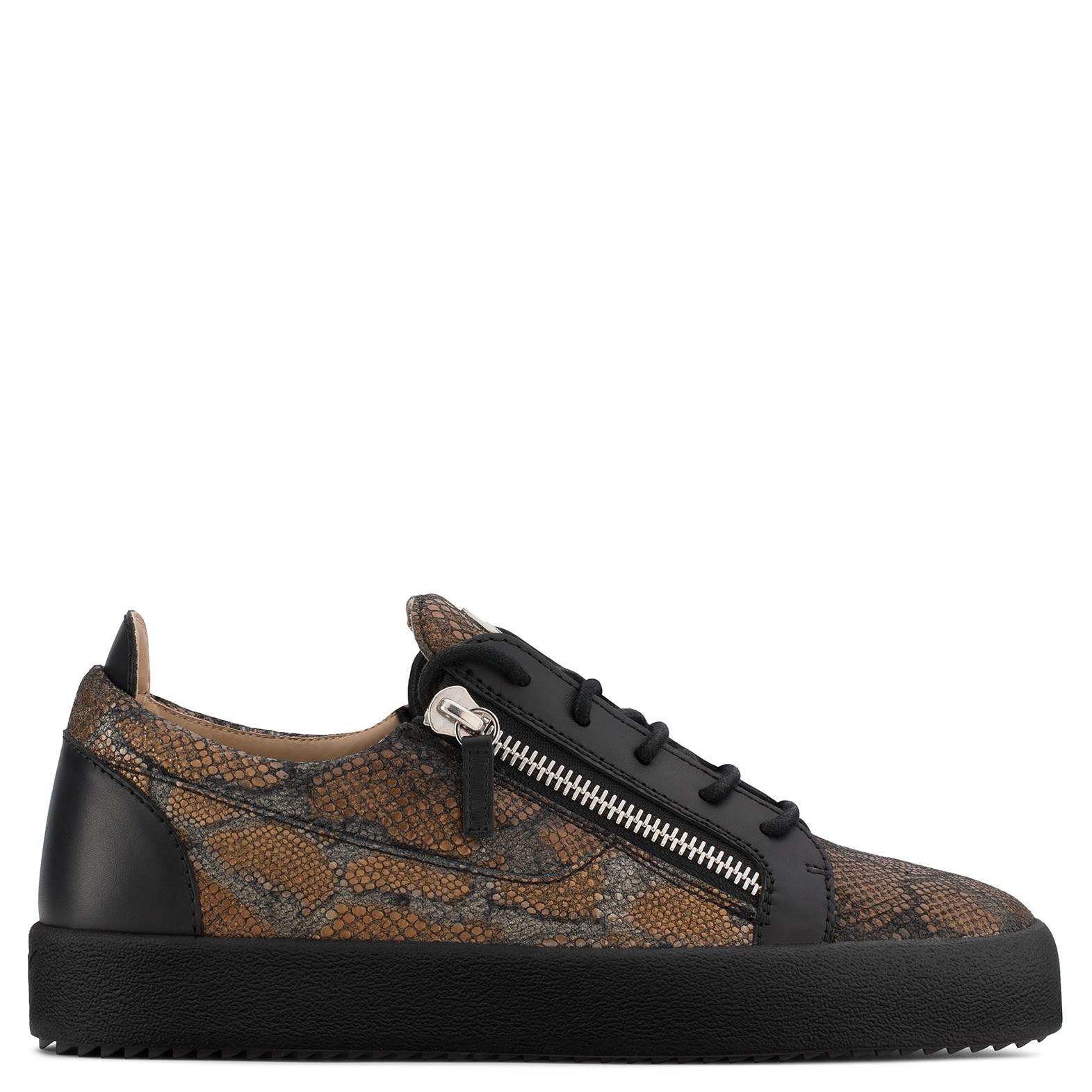 Giuseppe Zanotti Bronze python-embossed calfskin leather sneaker KRISS