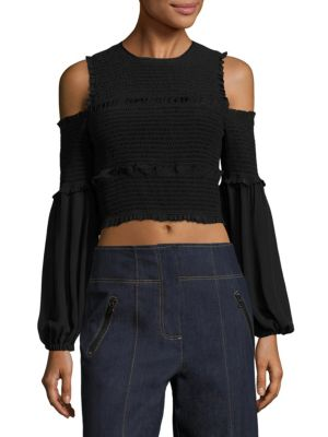 Woman Pascal Cold-Shoulder Shirred Silk Top Black