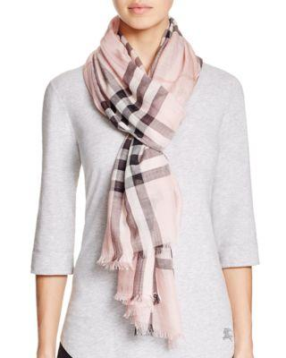 Giant Check Wool & Silk Gauze Scarf, Ash Rose