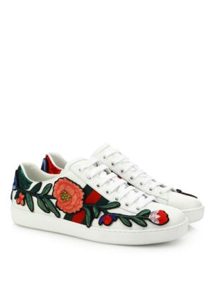 New Ace Floral-Embroidered Leather Low-Top Sneakers, White-Multi