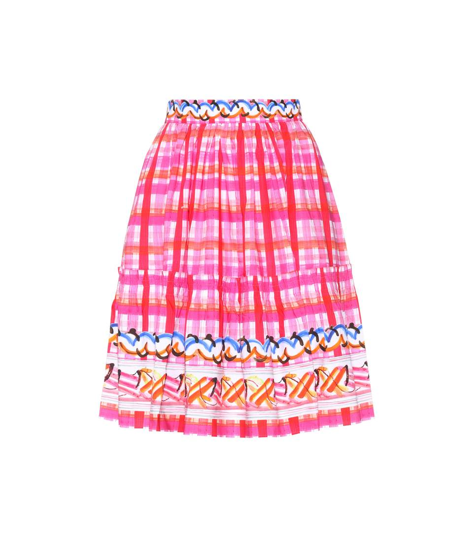 Abstract Check Skater Skirt in Pink