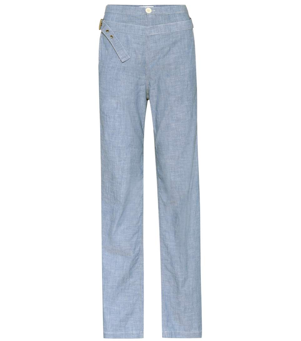 Cotton-Chambray Wide-Leg Pants in Blue