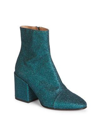 Glitter Block Heel Booties in Black