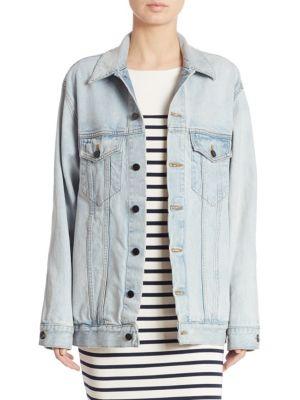 Daze Bleach Oversize Denim Jacket in Blue