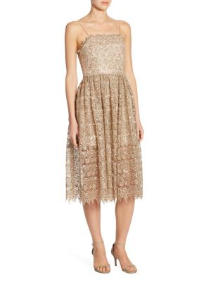 Alice + Olivia Alma Embroidered Lace Party Dress, Gold