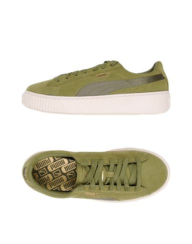 Suede Platform Trainers, Military Green