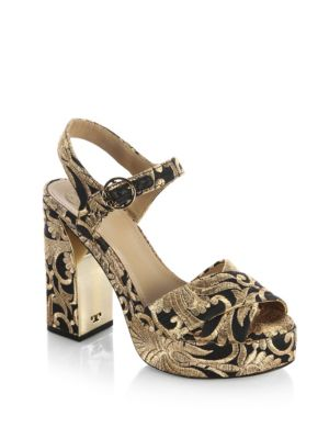 Loretta Black And Gold Embroidered Brocade Platform Sandals in Metallic