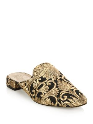 Carlotta Black And Gold Embroidered Brocade Mules
