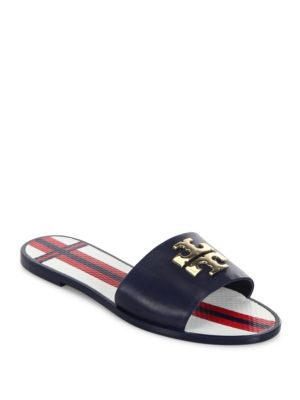 Tory Burch Logo Slide Sandals Cheap Real Outlet Eastbay Geniue Stockist Cheap Online Free Shipping Factory Outlet 1B9OZK