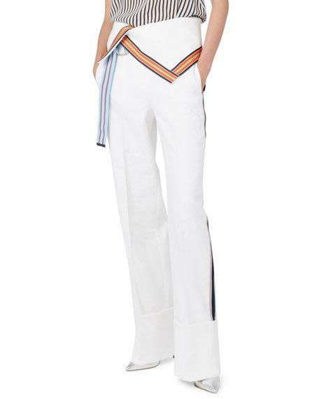 Grosgrain-trimmed Stretch Linen-blend Wide-leg Pants - Off-white Diane Von Fürstenberg kypog