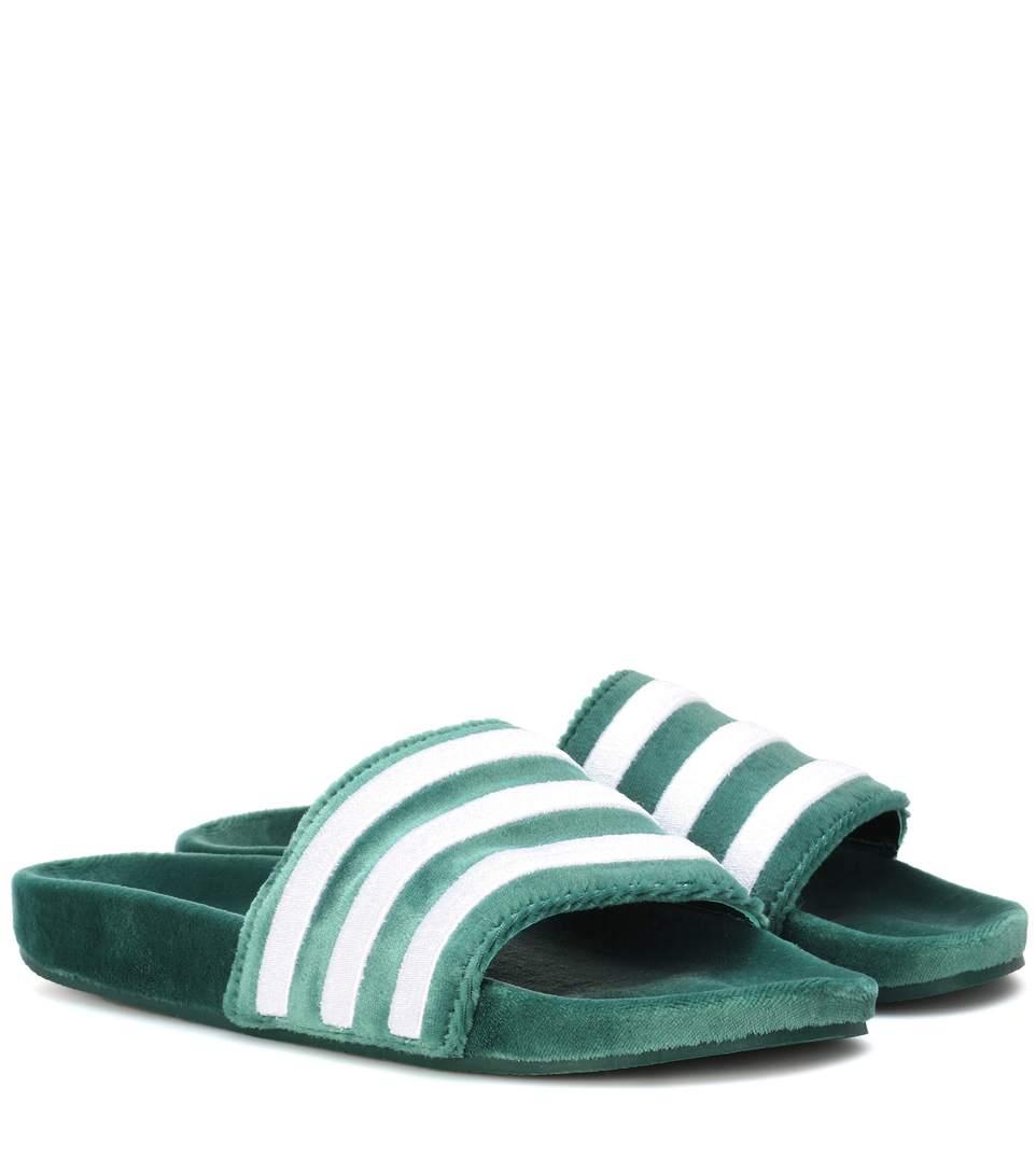 ADIDAS ORIGINALS Adilette Velvet Slider Sandals In Dark Green  Green  Cgreee