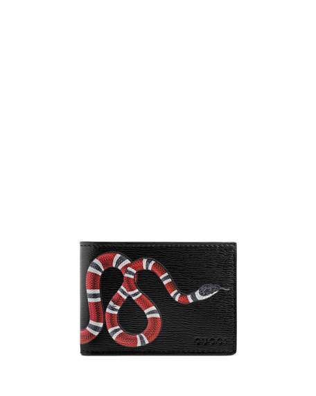Bestiary Snake-Print Leather Wallet, Black, Black Leather