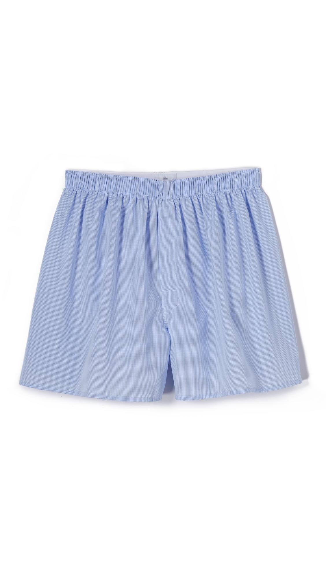 SUNSPEL Cotton Boxer Shorts - Light Blue in White/Navy/Light Pinstripe