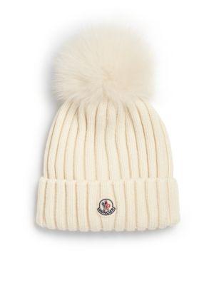 Bailey Slouchy Fur-Pom Beanie Hat, White 034