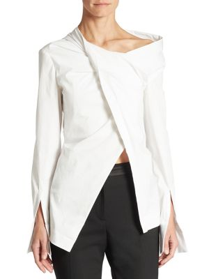 Oscar De La Renta Woman Wrap-effect Cotton-blend Poplin Shirt White Size 10 Oscar De La Renta Cheap Really es73U