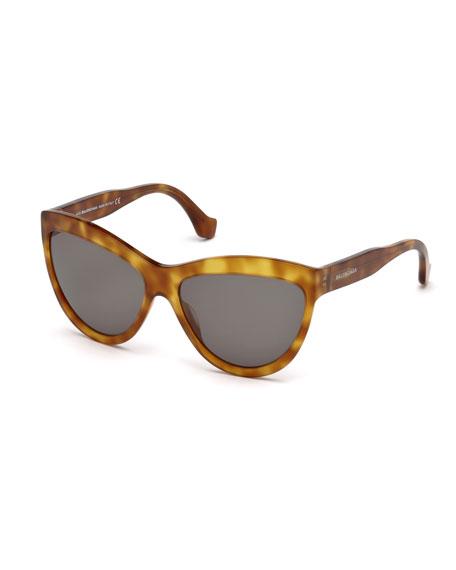Monochromatic Cat-Eye Sunglasses, Light Brown
