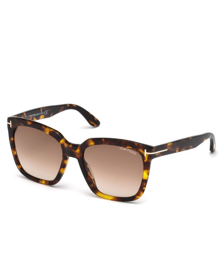 TOM FORD Amarra Square Acetate Sunglasses, Tortoise/Brown in Havana/Brown Gradient