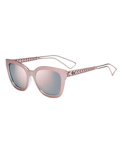 Ama Caged Mirrored Sunglasses, Pink