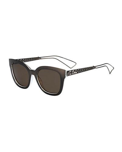 Ama Caged Mirrored Sunglasses, Grey Crystal