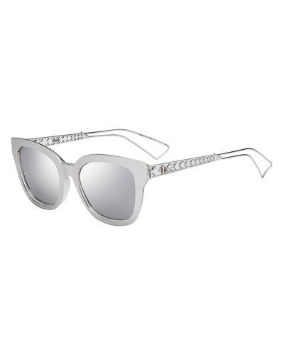 Ama Caged Mirrored Sunglasses, Silver