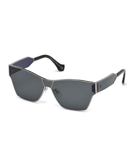 Balenciaga Metal Monochromatic Flash Shield Sunglasses, Gold, Gray Metallic