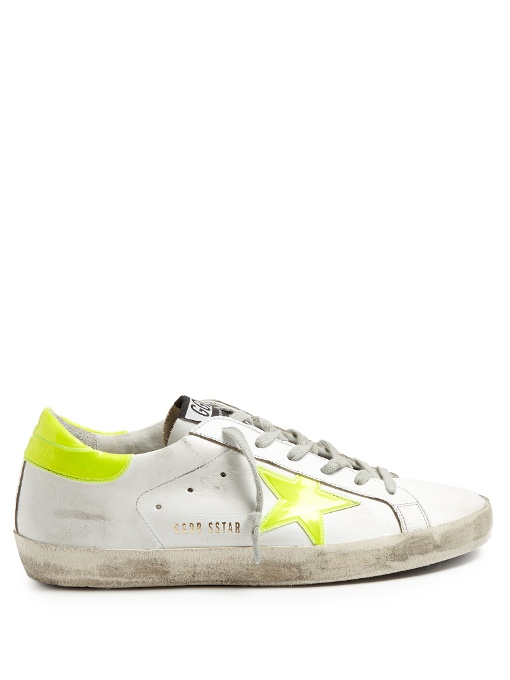 Leather Superstar Sneakers In White, Yellow, Neon., White Multi