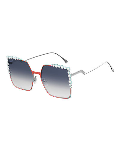 Can Eye Studded Oversized Square Sunglasses, White/Red in Orange