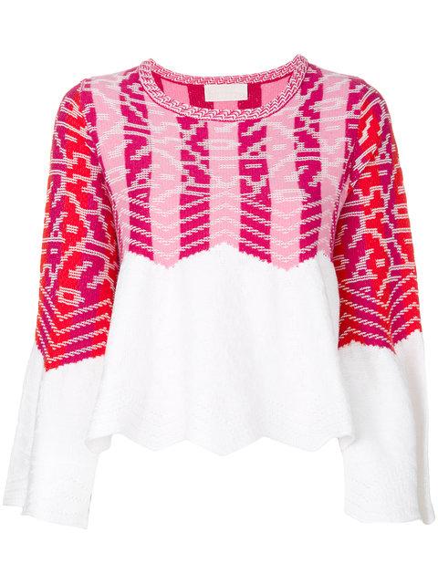 Bell-Sleeved Jacquard-Knit Jumper, Pink