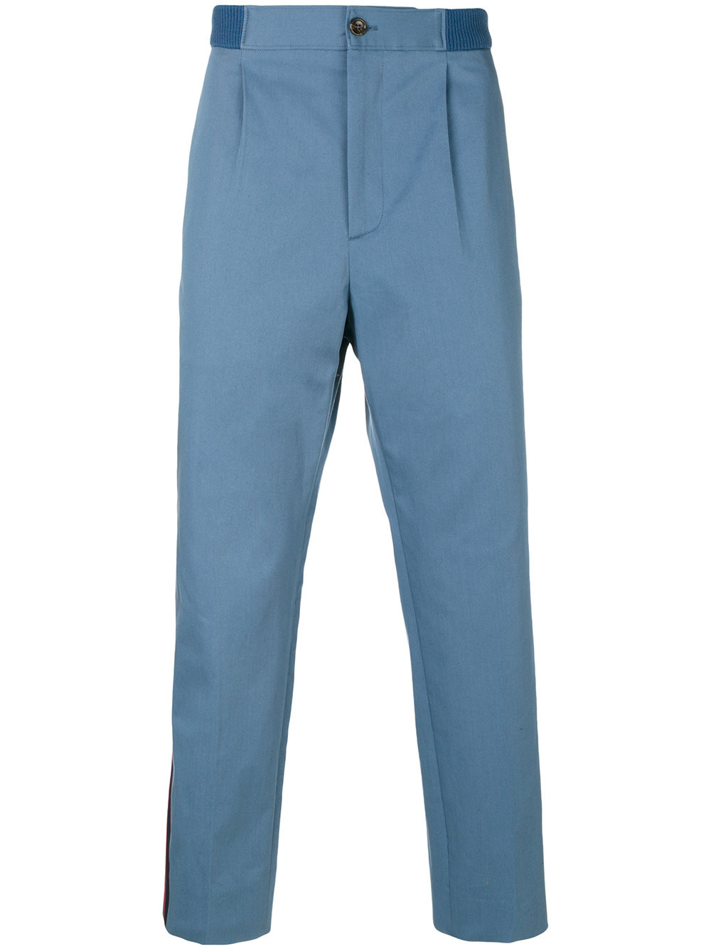 Stone-Bleached Denim Chino Pants, Blue