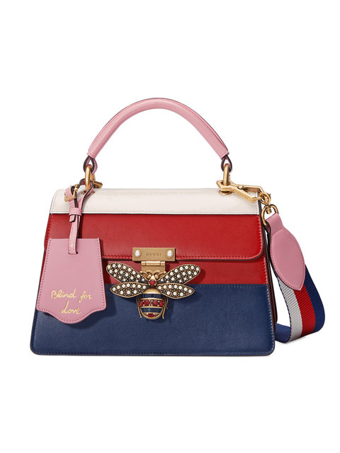 GUCCI Queen Margaret Top Handle Leather Satchel - Blue, Multicolor Leather