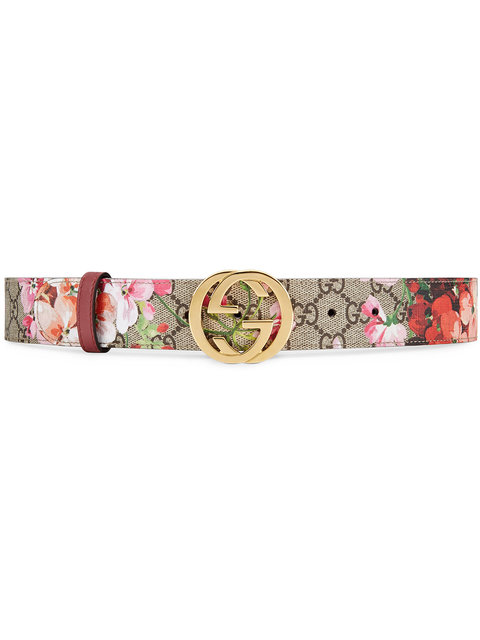 Floral Logo Print Belt in Multicolour