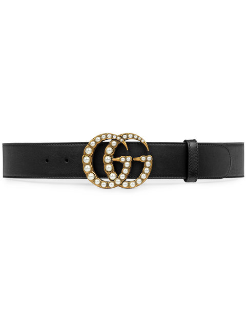 Leather Belt With Pearl Double G in Black