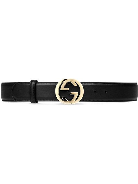 Leather Belt With Interlocking G in Black