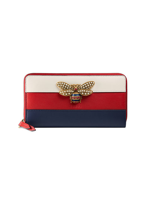 Queen Margaret Bee-Embellished Leather Wallet in Red