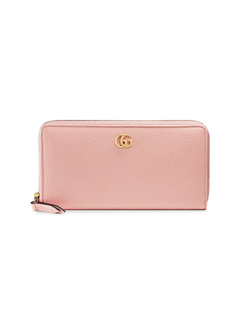 Leather Zip Around Wallet in Pink