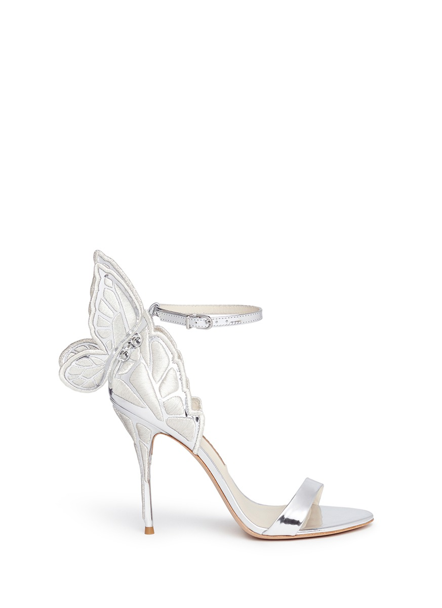 'Chiara' Butterfly Embroidered Mirror Leather Sandals in Silver