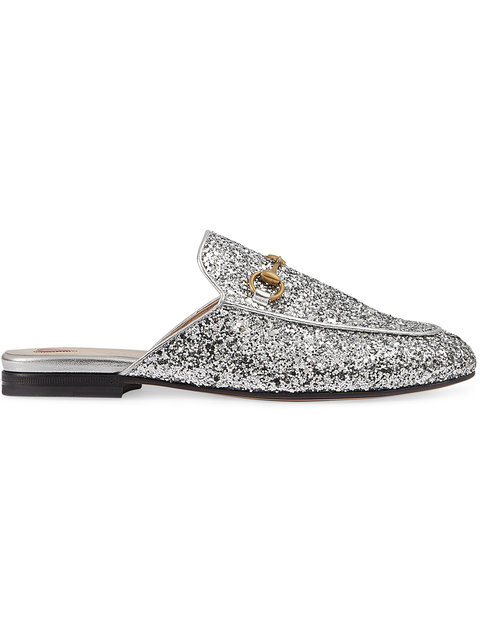 Princetown Horsebit-Detailed Glittered Leather Slippers in Silver
