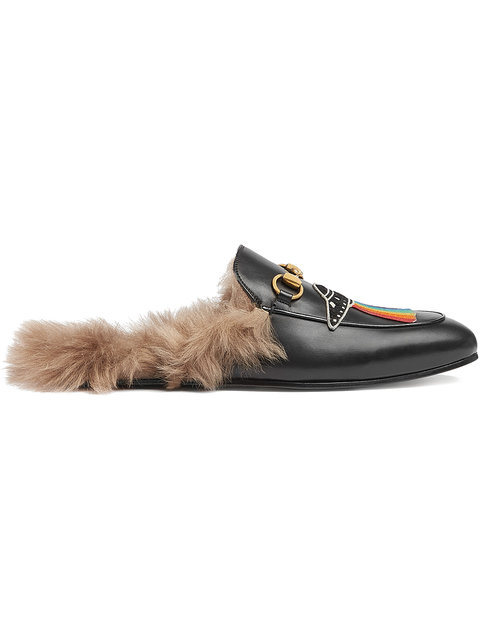 Princetown Shearling-Lined Embellished Leather Backless Loafers, Black