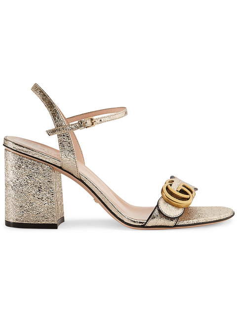 Marmont Logo-Embellished Metallic Cracked-Leather Sandals in Metallic/Nude